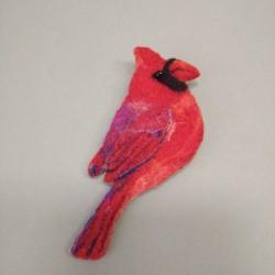 "Brooch ""Northern cardinal"""